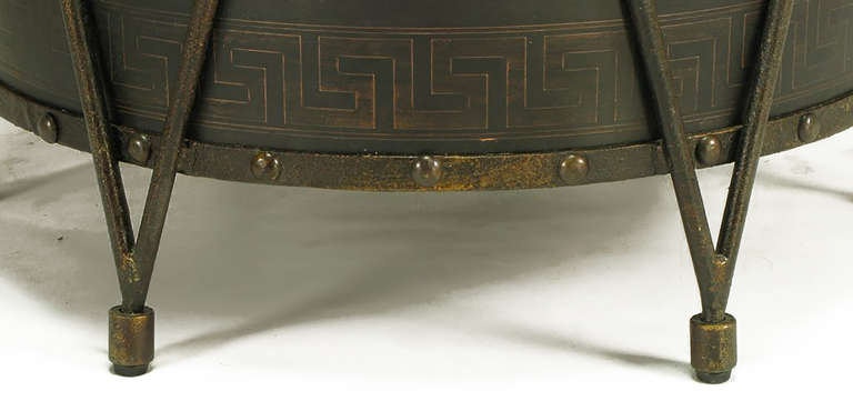 Bronze Drum-Form Games or Dining Table Base with Greek Key Design For Sale 2
