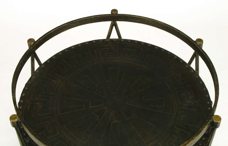 Bronze Drum-Form Games or Dining Table Base with Greek Key Design For Sale 3