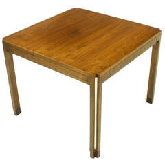 Edward Wormley for Dunbar Walnut, Rosewood and Aluminium Inlaid End Table