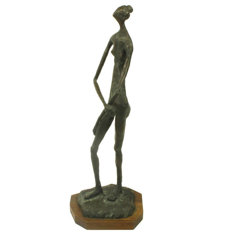 Signed, Bronze Female Nude Abstract Sculpture