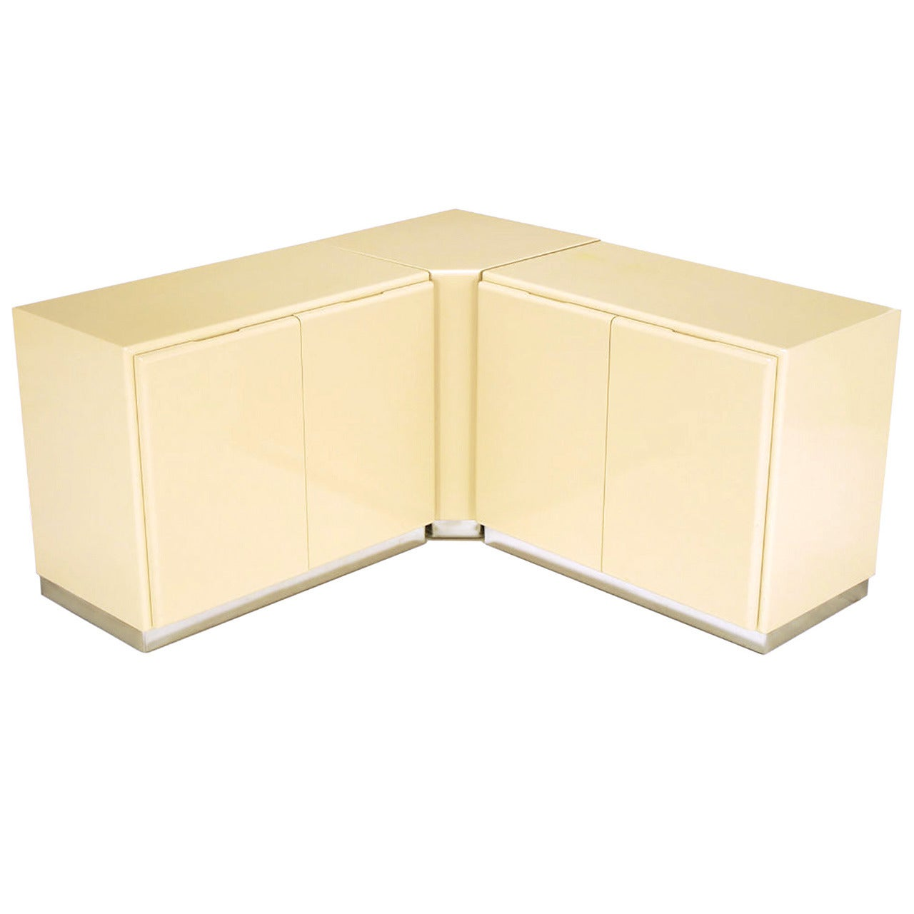 Milo Baughman Ivory Lacquer and Chrome, Two-Door Cabinets with Corner Pedestal