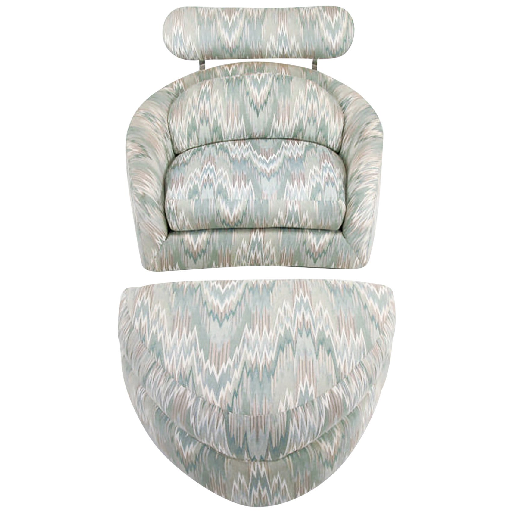 Adrian Pearsall Swivelling Club Chair with Ottoman and Integral Headrest