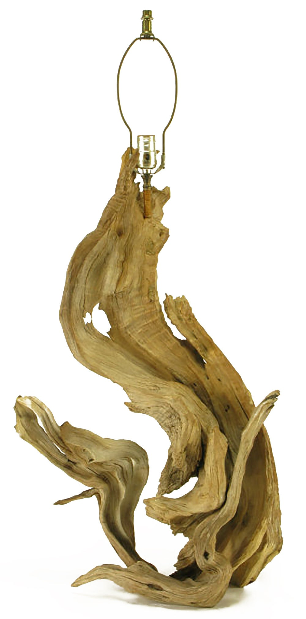 Natural S-shaped driftwood table lamp, sculpted by the winds and water of the ocean. Sold sans shade.
