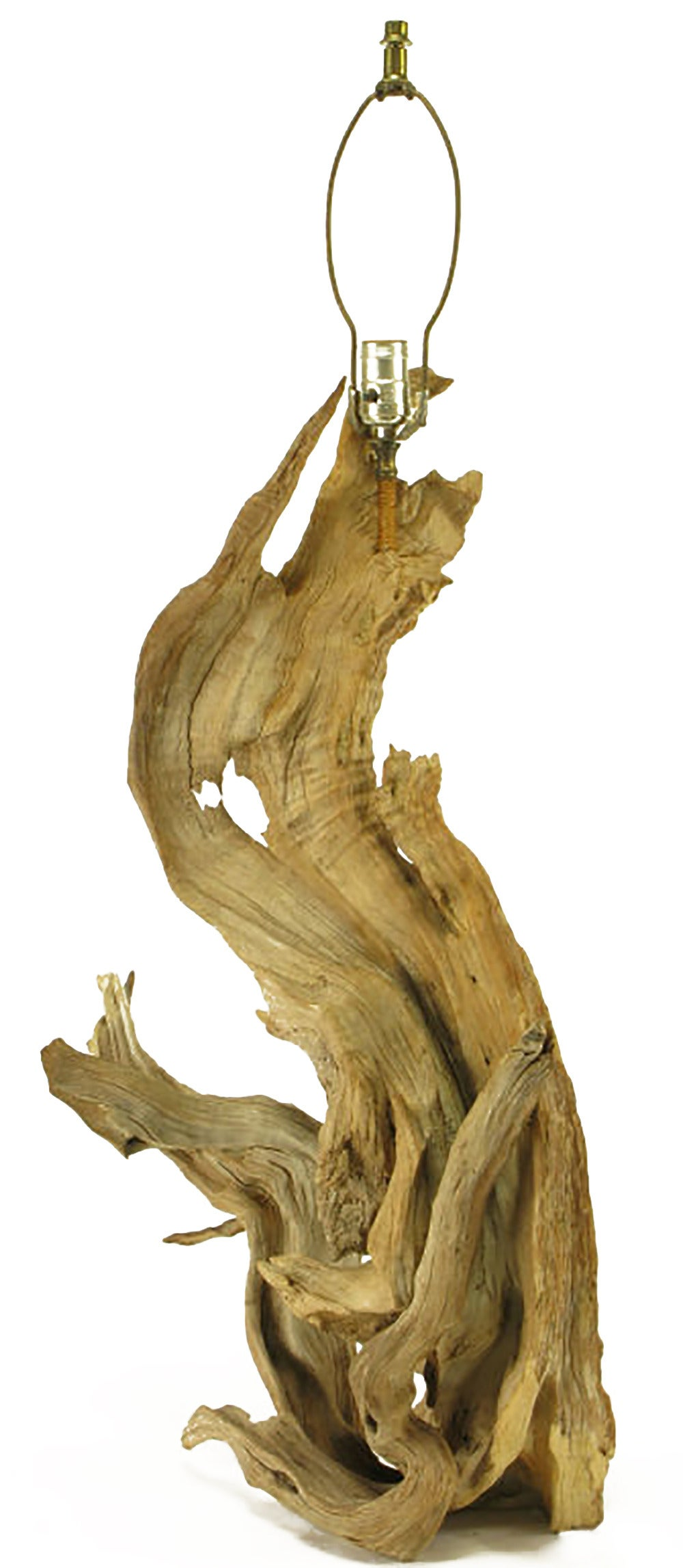 Naturally Sculpted Driftwood Table Lamp In Good Condition For Sale In Chicago, IL