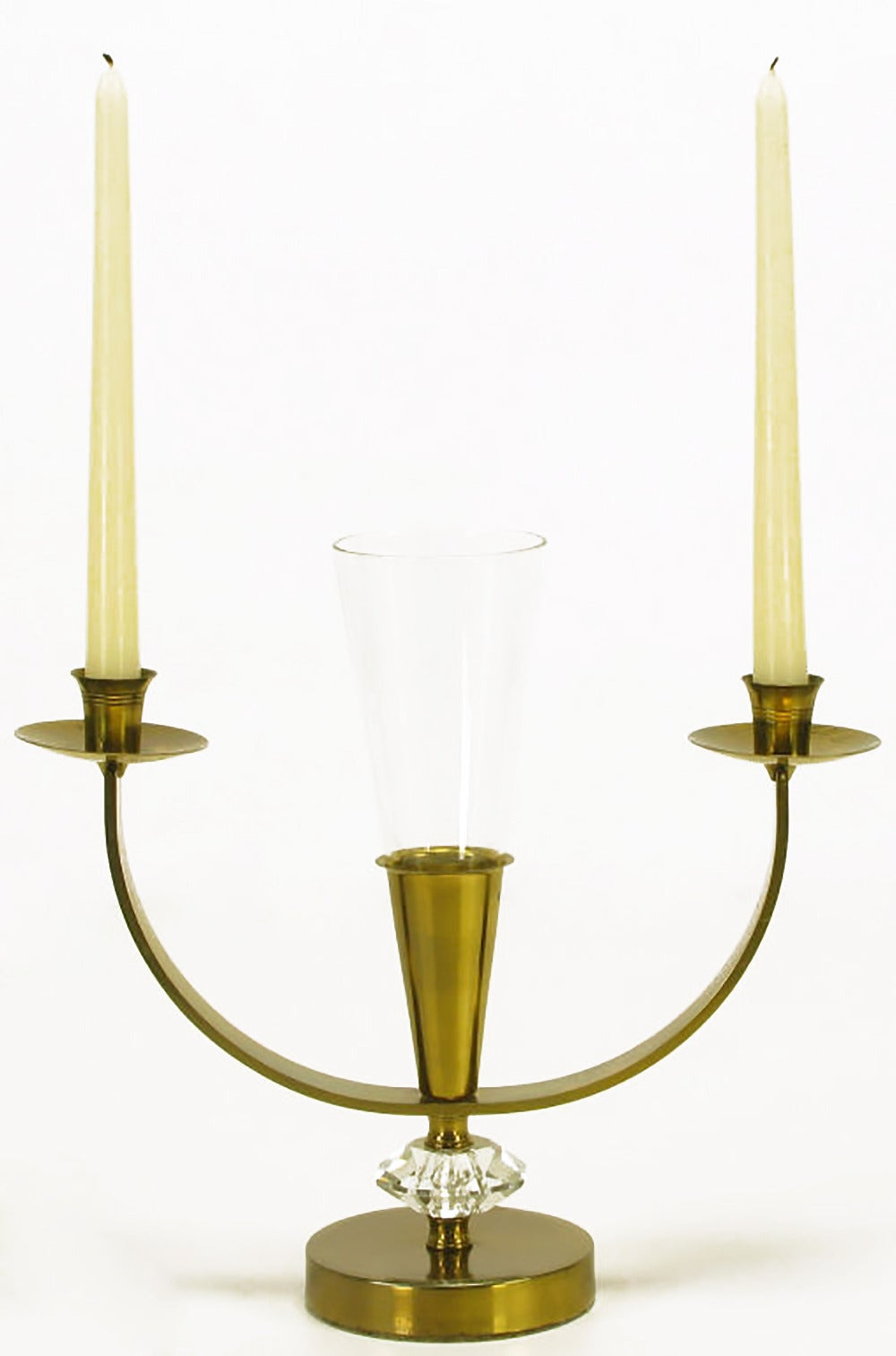 American Pair of Brass and Crystal Candelabra For Sale