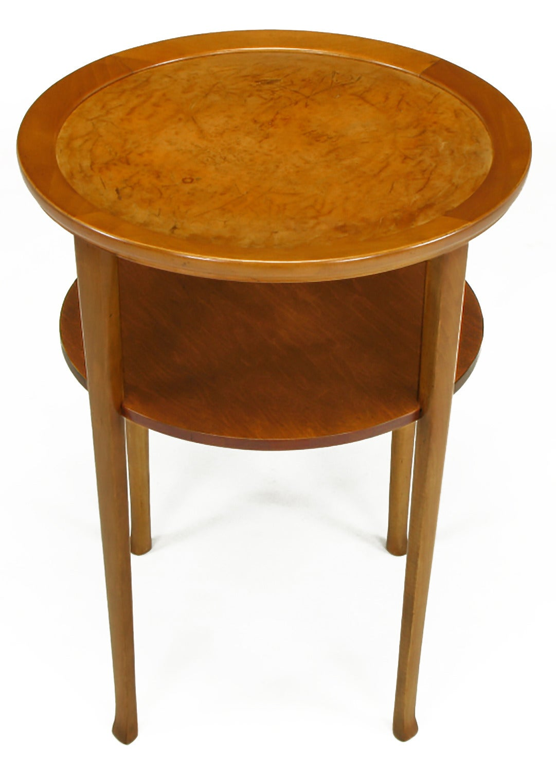 American 1940s Round Two-Tier Maple Side Table with Buffalo Leather Inlay For Sale