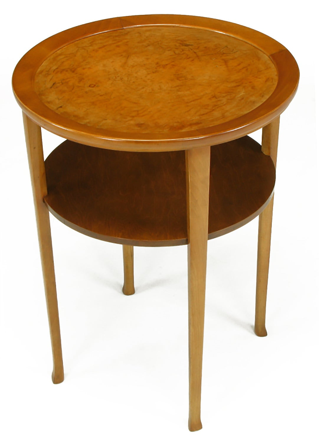 1940s Round Two-Tier Maple Side Table with Buffalo Leather Inlay In Good Condition For Sale In Chicago, IL