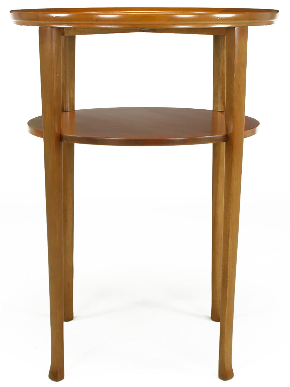 Mid-20th Century 1940s Round Two-Tier Maple Side Table with Buffalo Leather Inlay For Sale