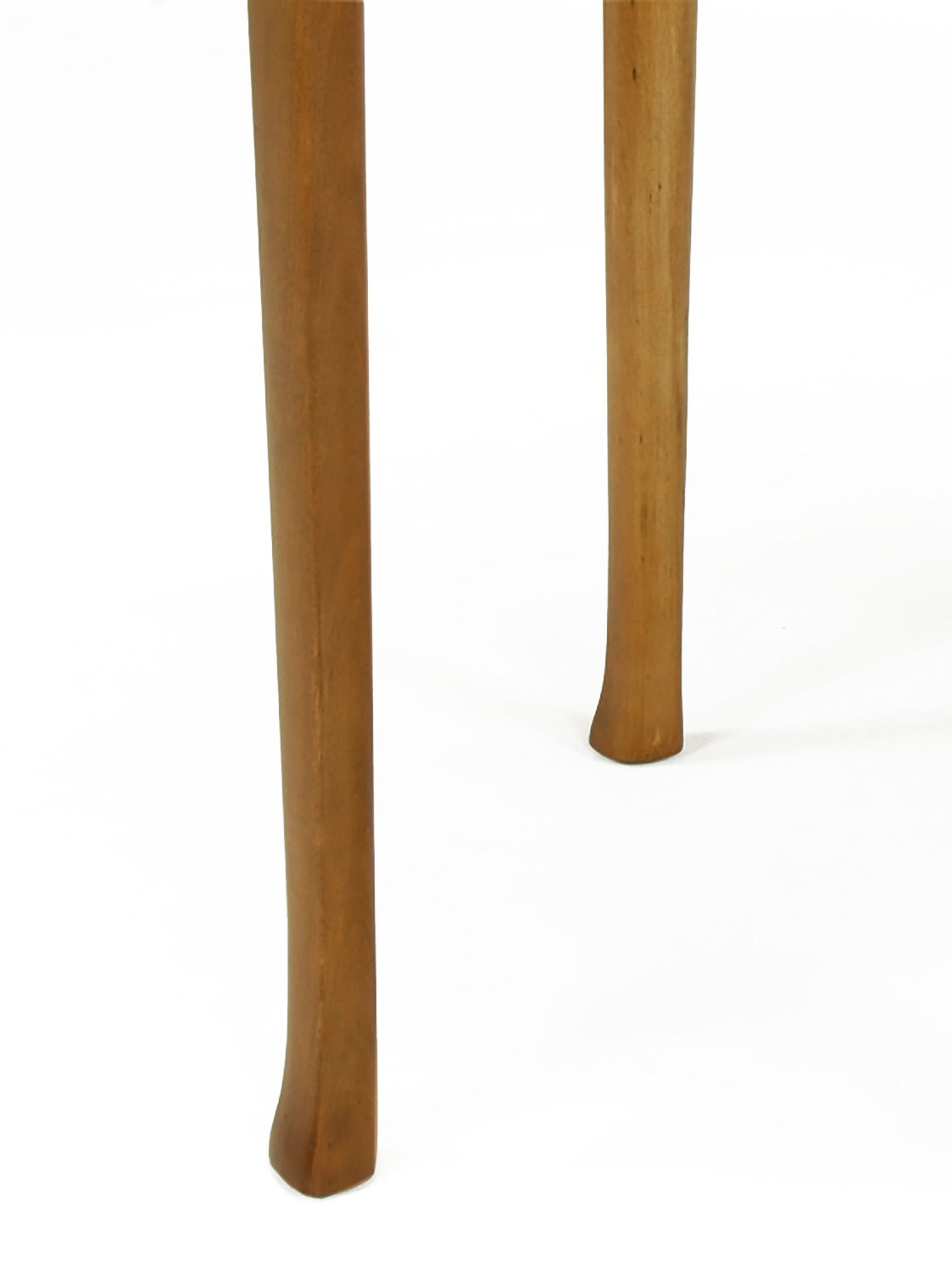 1940s Round Two-Tier Maple Side Table with Buffalo Leather Inlay For Sale 2