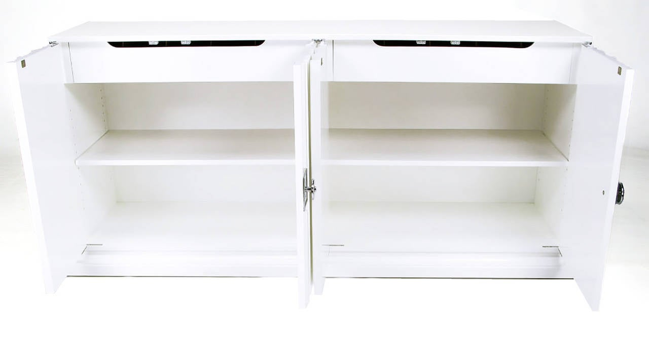 Lacquered Pair of Custom White Lacquer Linen Fold Cabinets For Sale