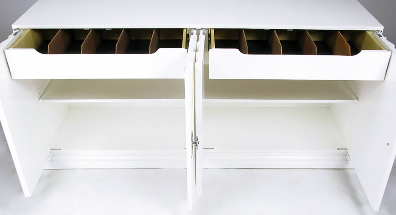 Pair of Custom White Lacquer Linen Fold Cabinets In Excellent Condition For Sale In Chicago, IL