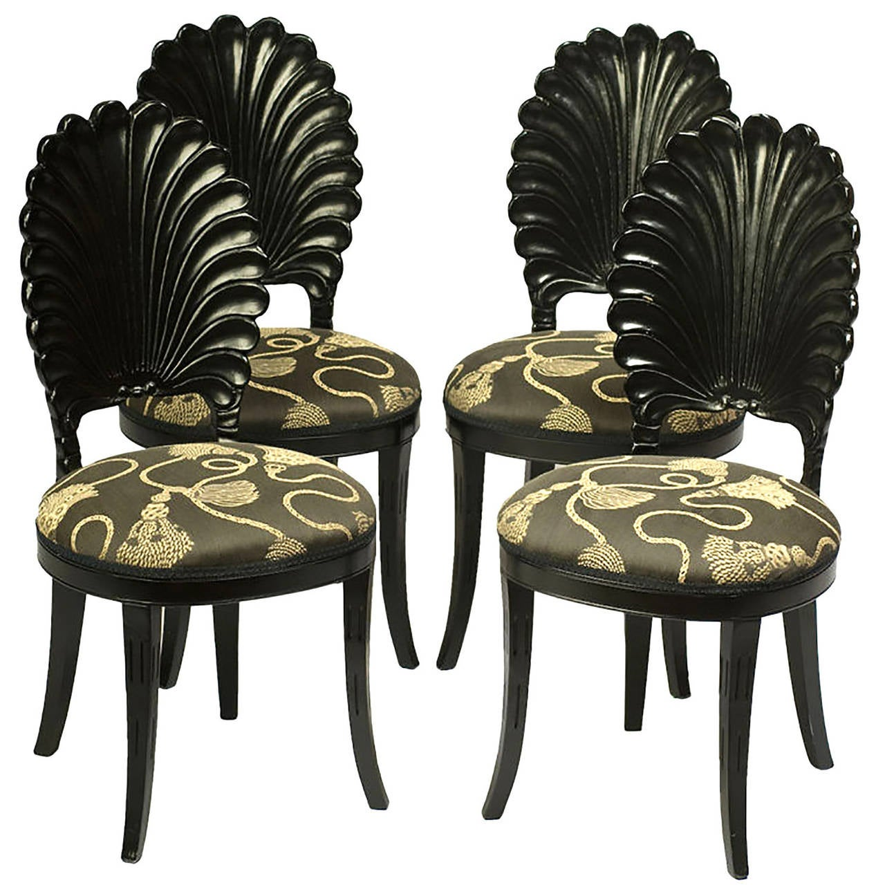 Set of Four Ebonized Wood Venetian Grotto Chairs For Sale