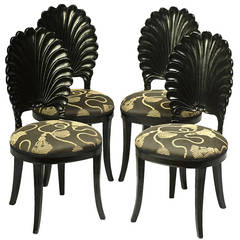 Set of Four Ebonized Wood Venetian Grotto Chairs