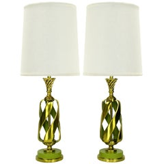 Pair of Rembrandt Stylized Pineapple Form Brass & Chartreuse Lacquer Table Lamps