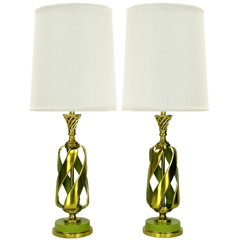 Pair of Rembrandt Stylized Pineapple Form Brass & Chartreuse Lacquer Table Lamps For Sale