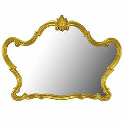 Italian Gilt Composite Wood and Gesso Rococo Wall Mirror by Florentia