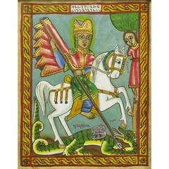 Saint George Gouache & Watercolor By Ethiopian Artist Tadesse Wolde Aregay