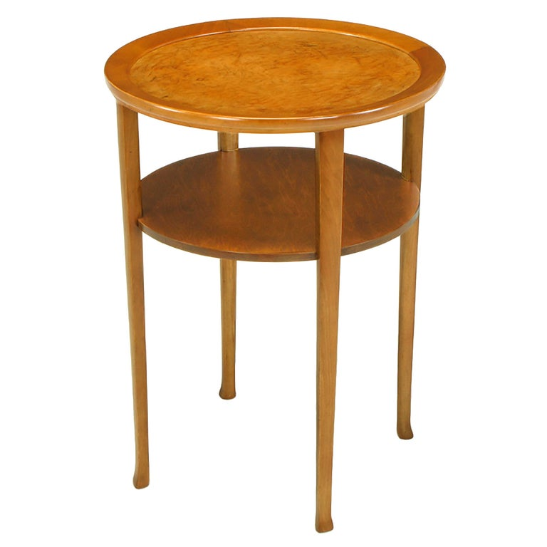 1940s Round Two-Tier Maple Side Table with Buffalo Leather Inlay For Sale