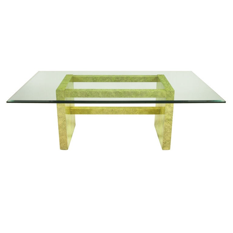 Henredon Circa 75 Glass & Marbleized Base Dining Table