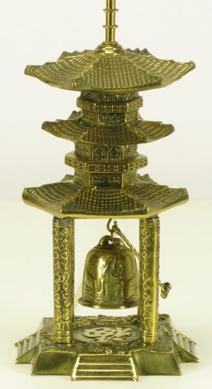 Brass Pagoda Temple Table Lamp With Hanging Bell For Sale
