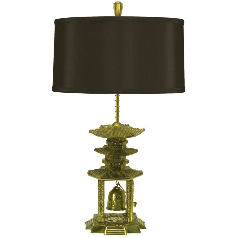 Hanging Table Lamp: Brass Pagoda Temple Table Lamp With Hanging Bell For Sale