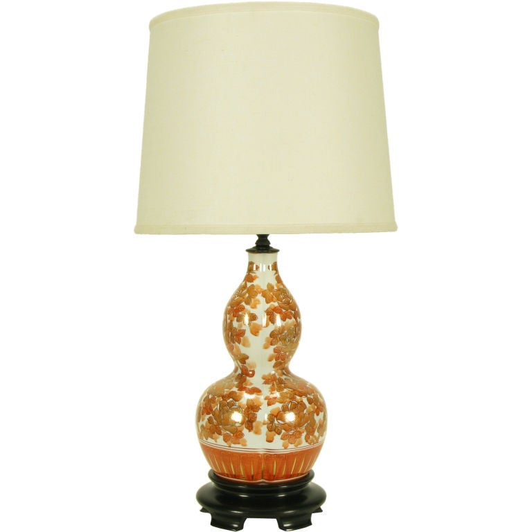 Hand Painted Persimmon Peonies & Parcel Gilt Table Lamp