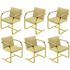 Six Brueton Solid Brass & Ivory Wool Armchairs