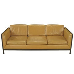 Stow Davis Leather, Ebonized Wood & Aluminum Even-Arm Sofa.