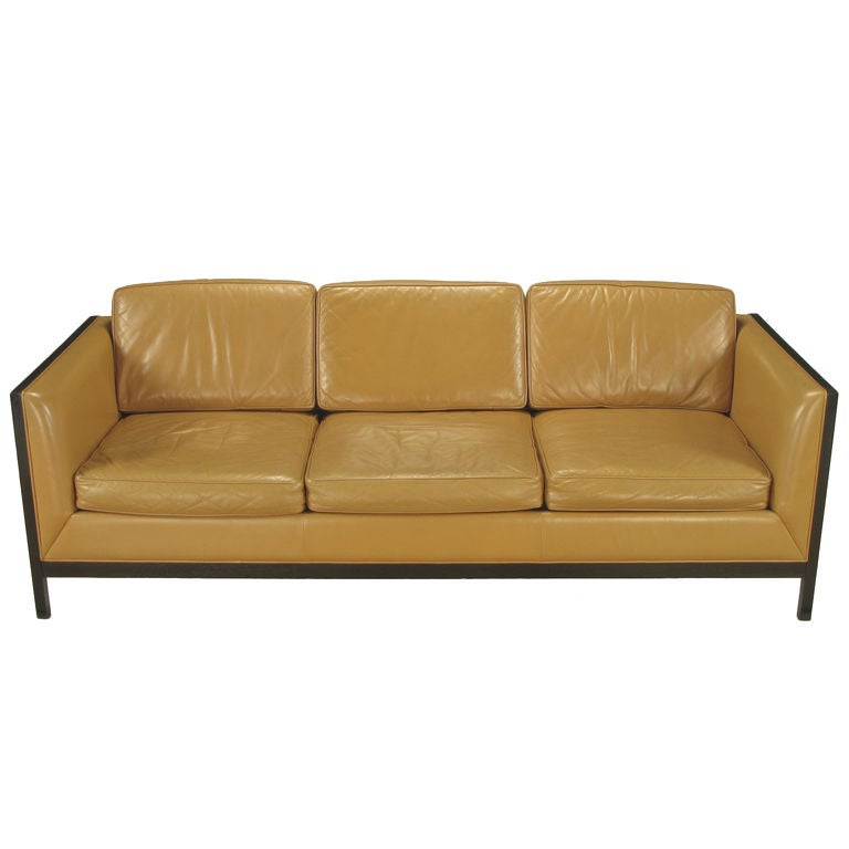 Fabulous Stow Davis Leather Ebonized Wood Aluminum Even Arm Sofa Gmtry Best Dining Table And Chair Ideas Images Gmtryco