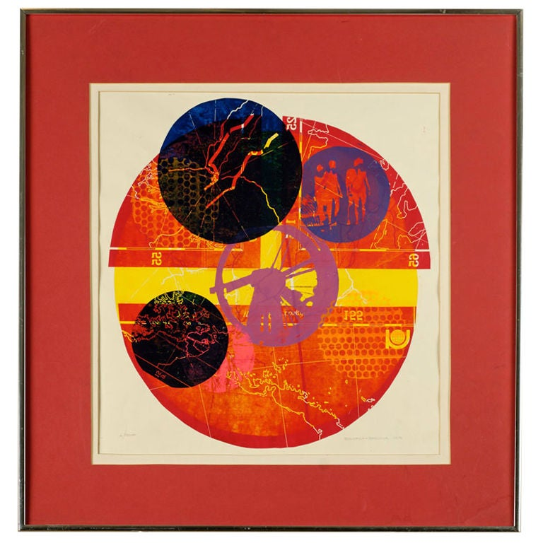 Colorful 1970 Abstract Screen Print