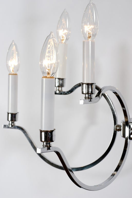 Elegant five-arm chandelier with a total of 10 lights on double branches. Devoid of kitsch qualities found in so many chrome fixtures of the period.