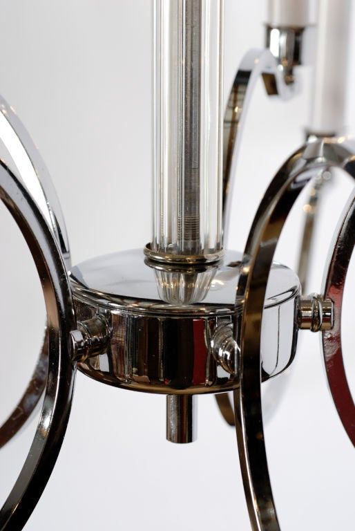 Mid-Century Modern Frederick Cooper Chrome and Glass Modernist Chandelier For Sale