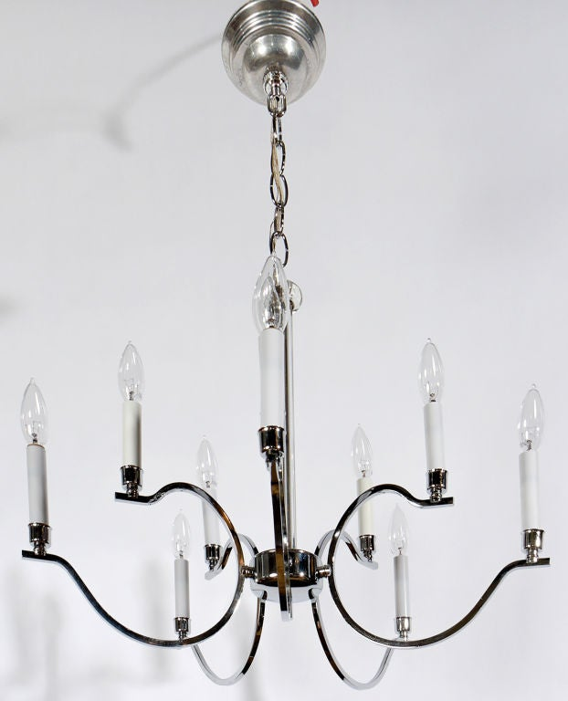Frederick Cooper Chrome and Glass Modernist Chandelier In Excellent Condition For Sale In Chicago, IL