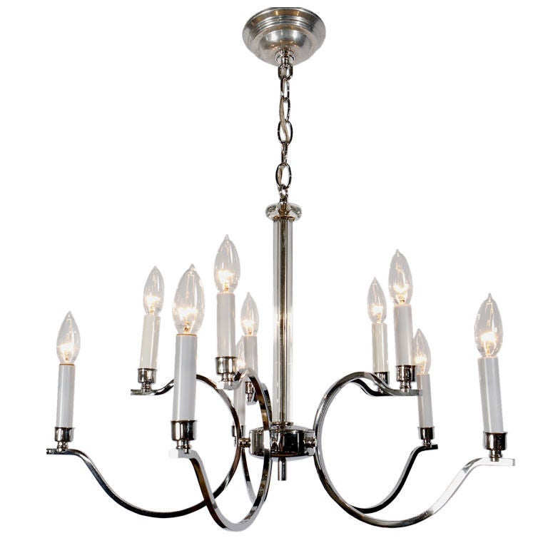 Frederick Cooper Chrome and Glass Modernist Chandelier For Sale
