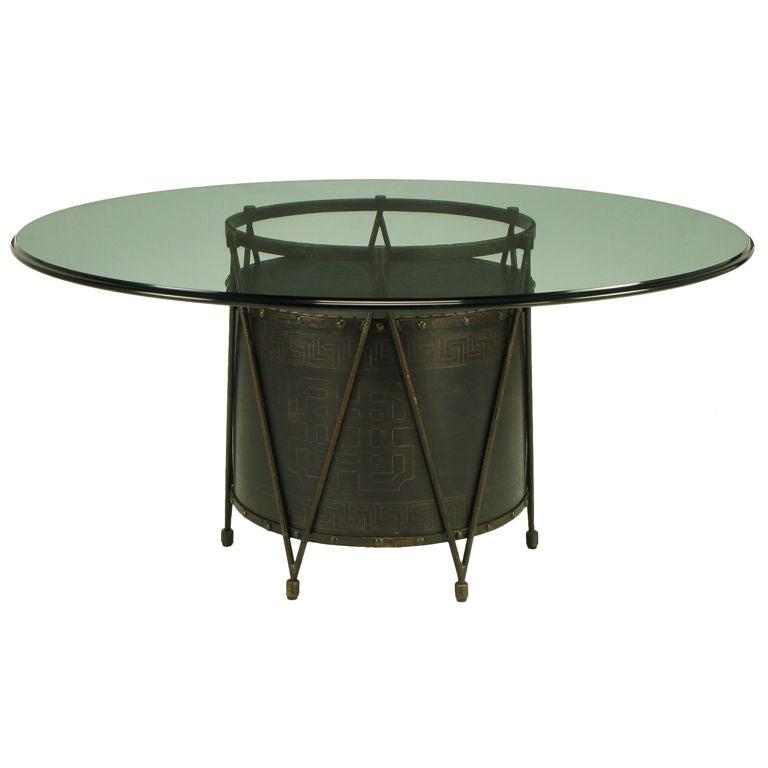 Bronze drum form table base with greek key design at 1stdibs for Table form design