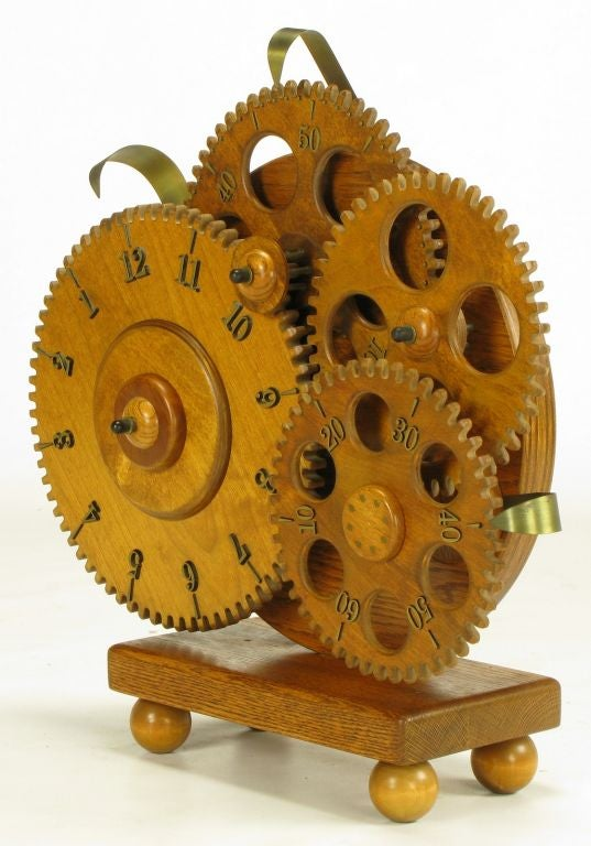 Brass And Carved Wood Gears Mantel Clock At 1stdibs