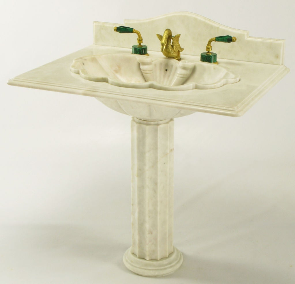 Vintage Marble Sink : Vintage Sherle Wagner Marble Shell Pedestal Sink. at 1stdibs