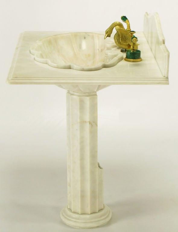 Marble Pedestal Sink : Vintage Sherle Wagner Marble Shell Pedestal Sink. at 1stdibs