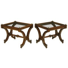 Pair Mahogany & Glass Empire Style End Tables With Brass Finials