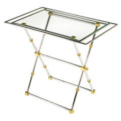 Chrome & Brass X-Frame Tray Table