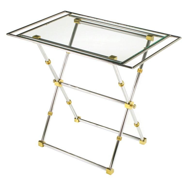 Chrome & Brass X-Frame Tray Table