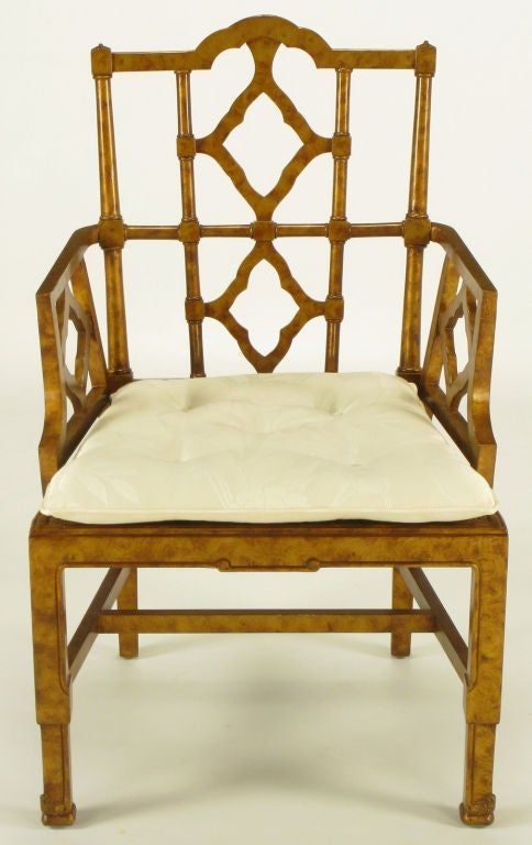 American Six Chinese Chippendale Copper Tortoiseshell Armchairs For Sale