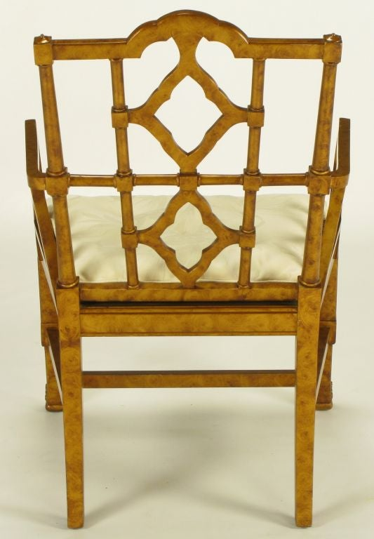 Six Chinese Chippendale Copper Tortoiseshell Armchairs For Sale 2