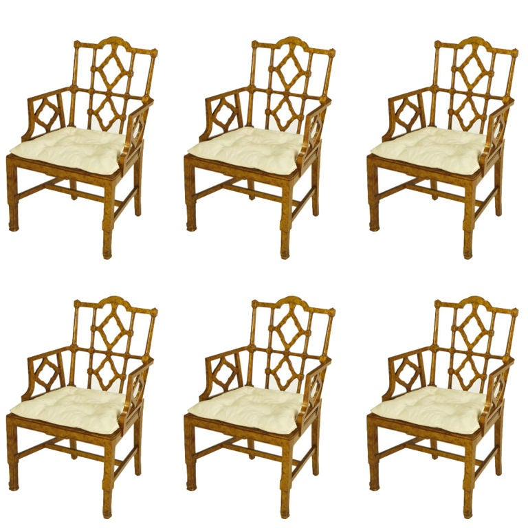 Six Chinese Chippendale Copper Tortoiseshell Armchairs For Sale