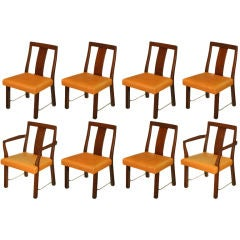 Eight Edward Wormley Mahogany, Leather & Brass Dining Chairs