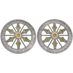 """Pair Moroccan 42"""" Openwork Medallions With Embossed Brass & Copper Detail"""