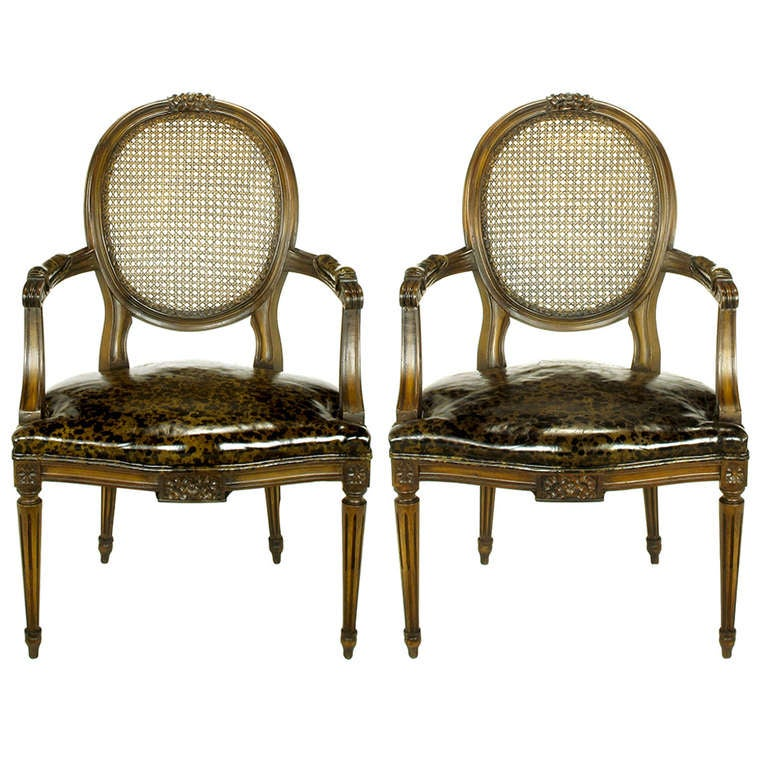 Pair of Louis XVI Mahogany and Cane Armchairs with Tortoiseshell Leather For Sale