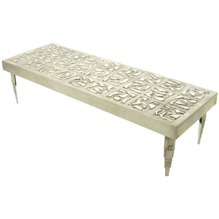 "Threshold Cast Aluminum Coffee Table: Artist Signed 73"" Cast Aluminum Abstract Relief Coffee"