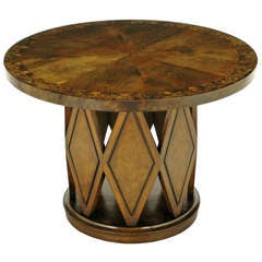 Burled and Figured Walnut End Table with Open Harlequin Base
