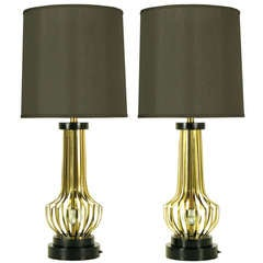 Pair Rembrandt Brass Open Rib Table Lamps With Crystal Ball Centers